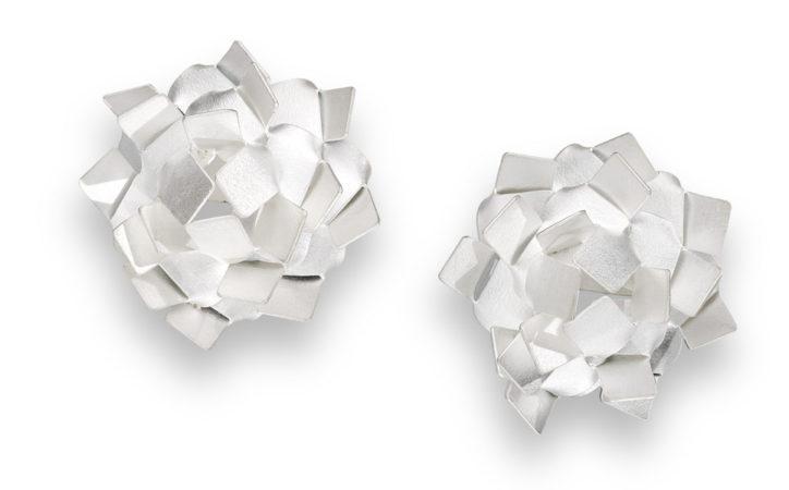 KIKU earrings silver. Any KIKU is handmade from ONE plate