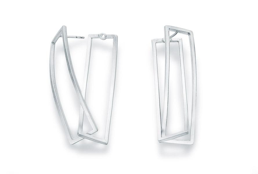 series klang (shape rectangle)earrings, silver