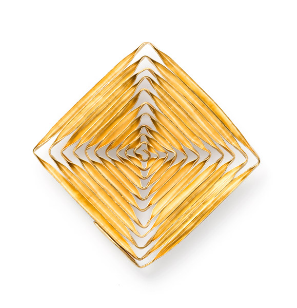 Spiral SQUARE brooch goldplated