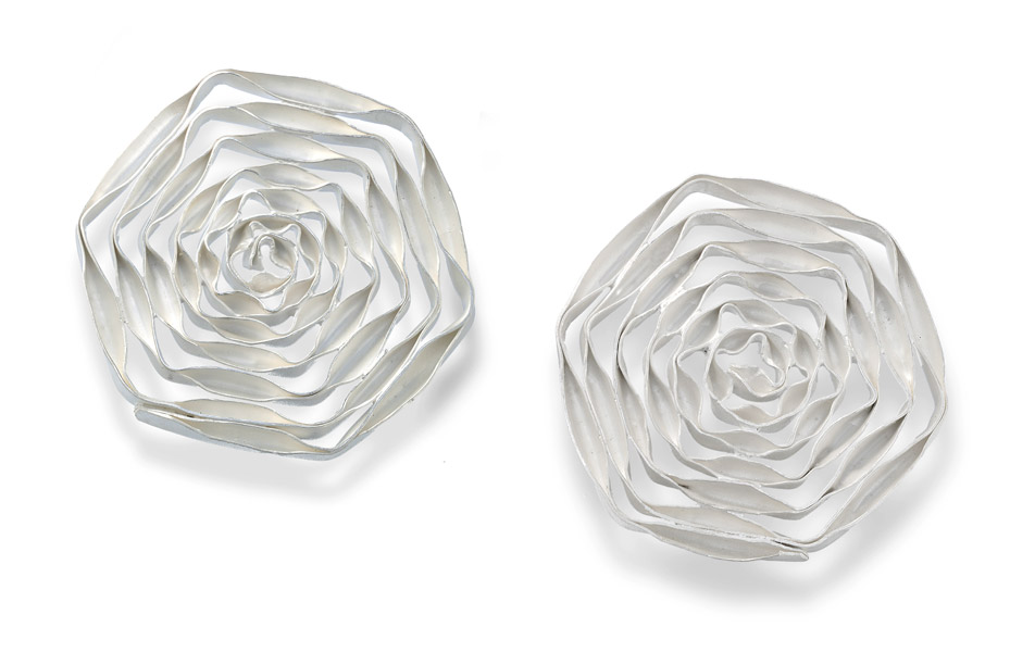 series SPIRAL hexagon-shape, earrings, silver