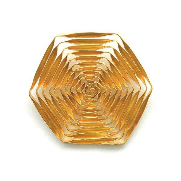 "Spiral ""Hexagon"", brooch, goldplated"